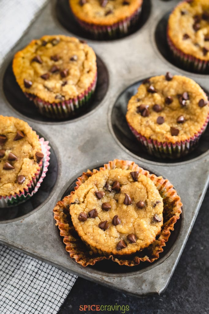 chocolate chip banana muffins in muffin tin