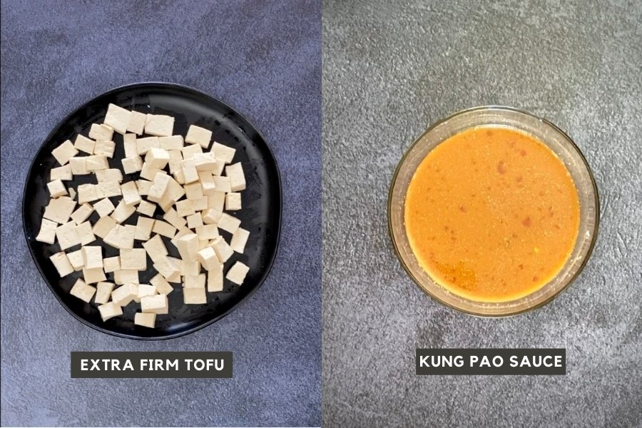 Tofu pieces on left and a bowl of kung pao sauce on right