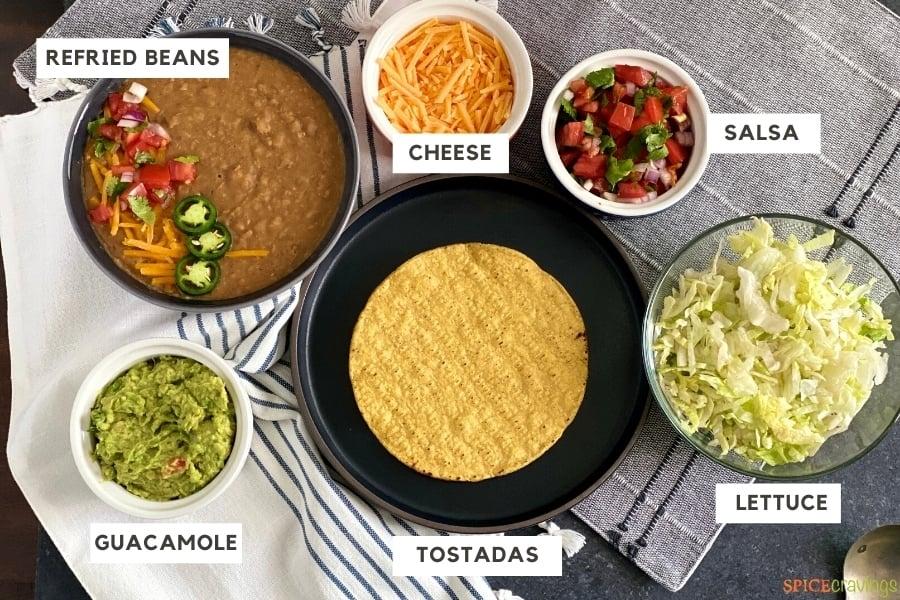 Ingredients needed for Tostada