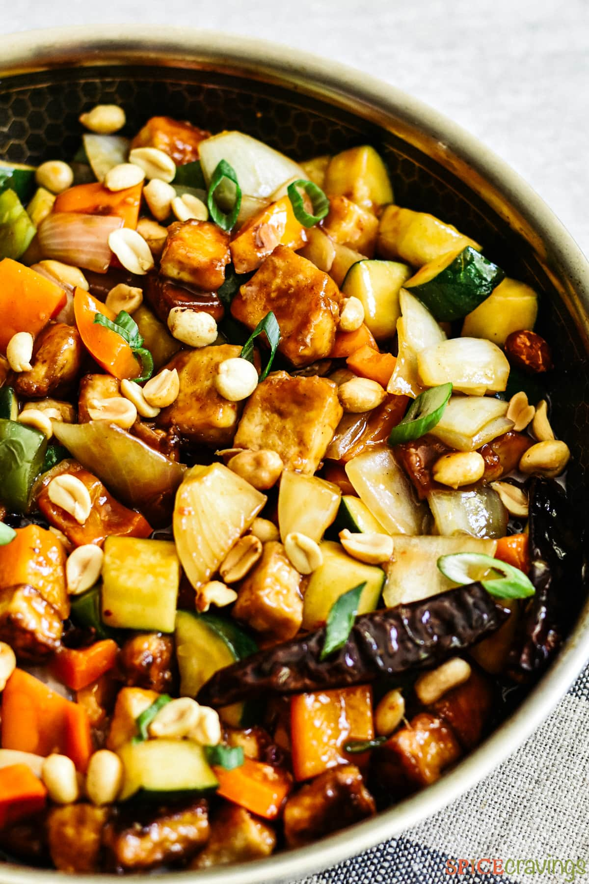 Kung Pao Tofu in a skillet