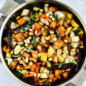 Kung Pao Tofu in a cast iron skillet
