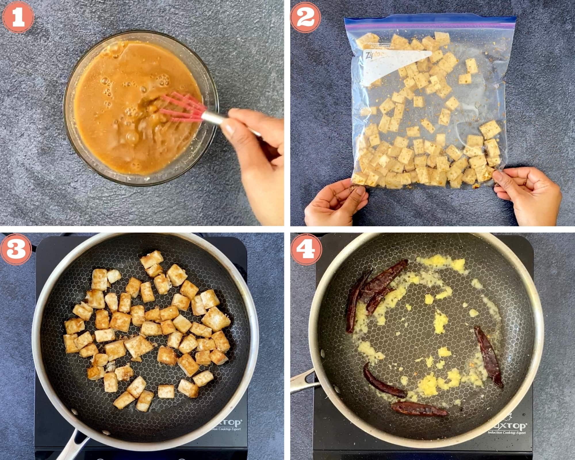 Steps 1-4 to make Kung Pao Tofu