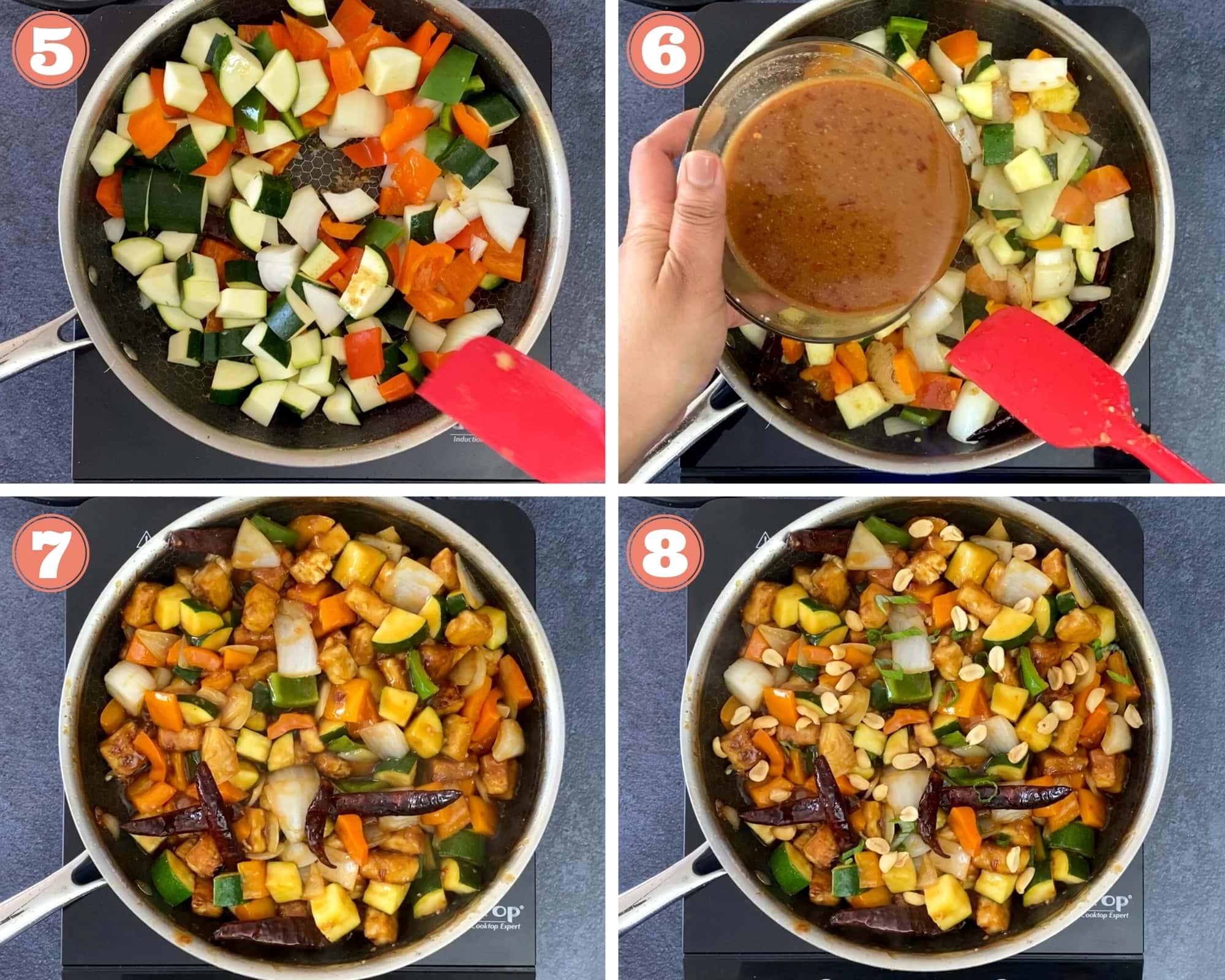 Steps 5-8 to make Chinese Stir Fry Tofu