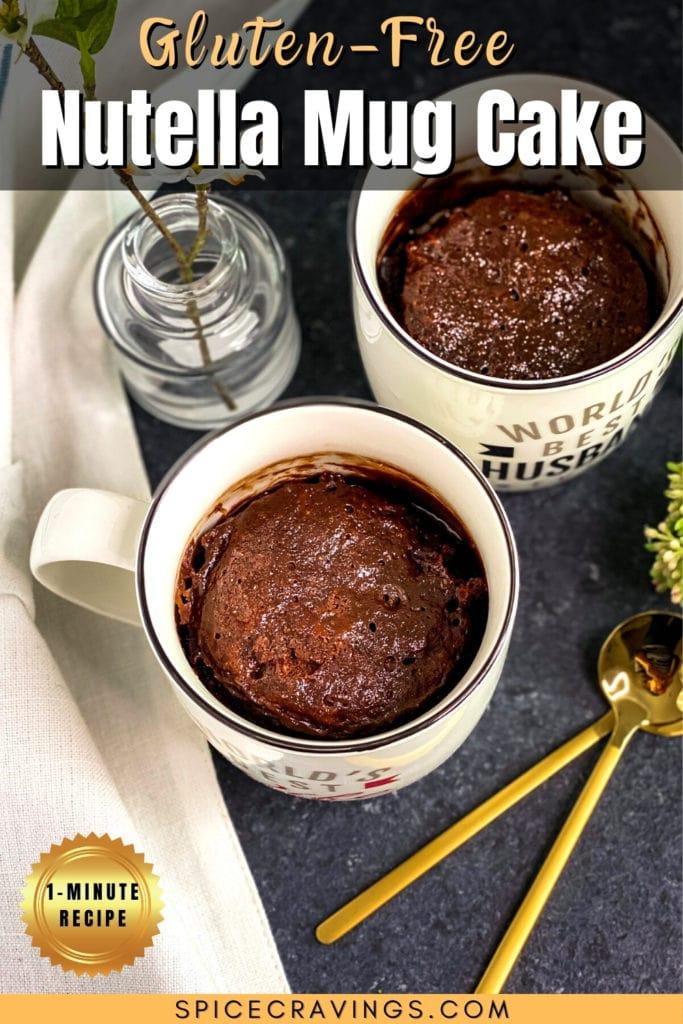 Two mugs of Nutella Mug Cake