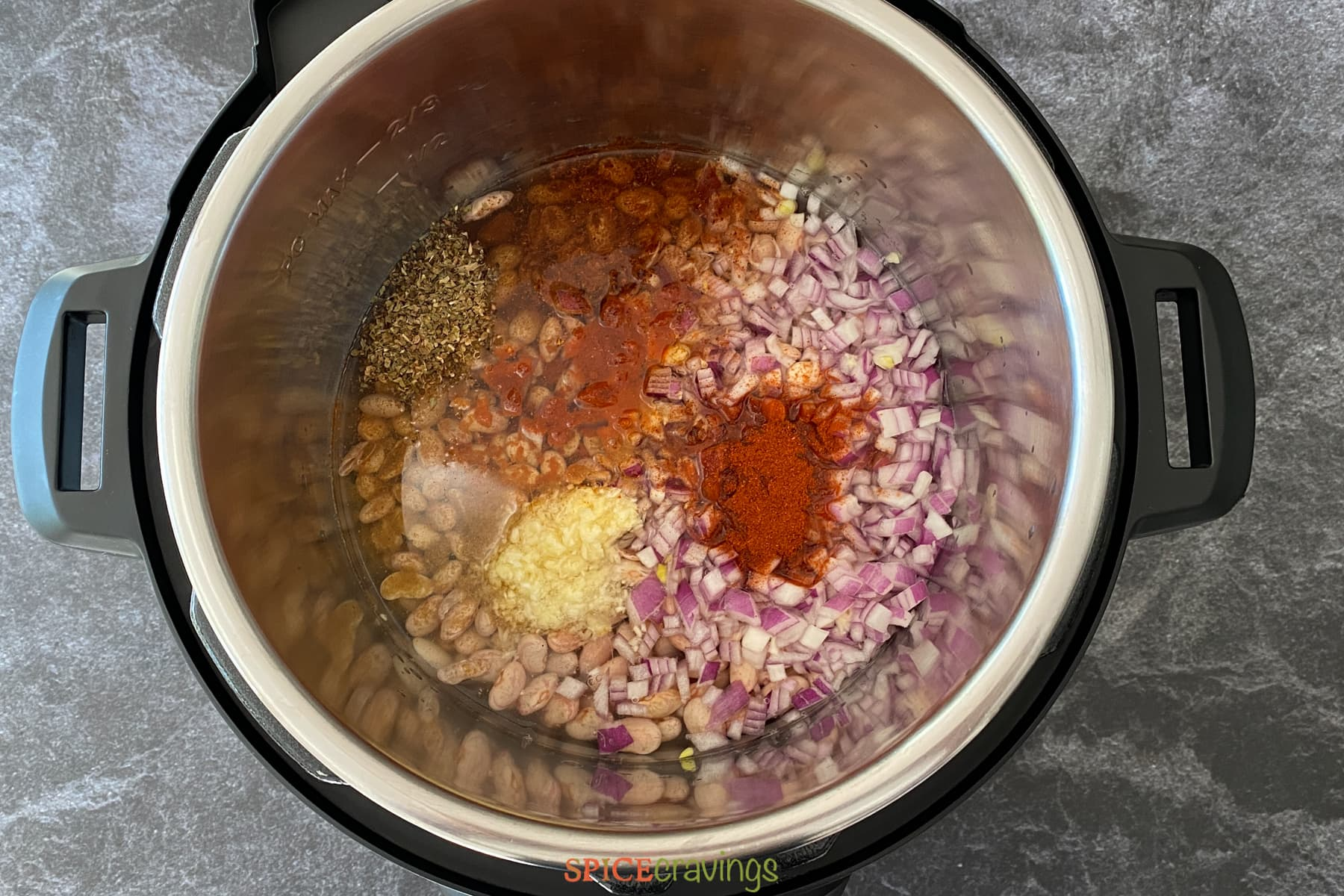 Beans and spices in an Instant Pot