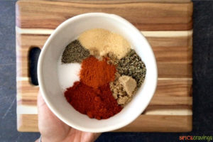 Bowl with spices for cajun spice blend