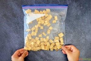 Marinating tofu in plastic bag
