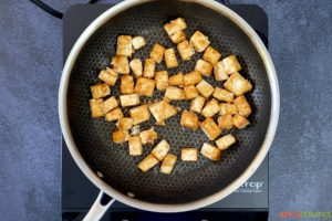 Cooking tofu in cast iron skillet