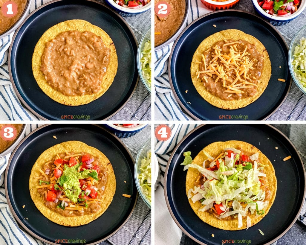 Steps showing how to assemble tostadas