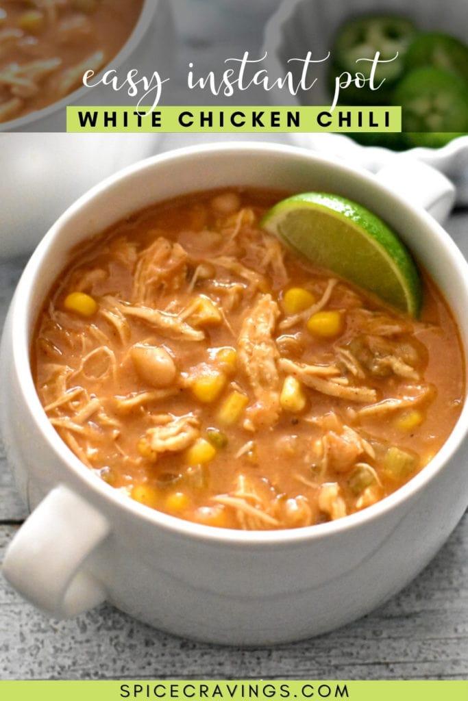 Pressure Cooker White Chicken Chili in a white mug