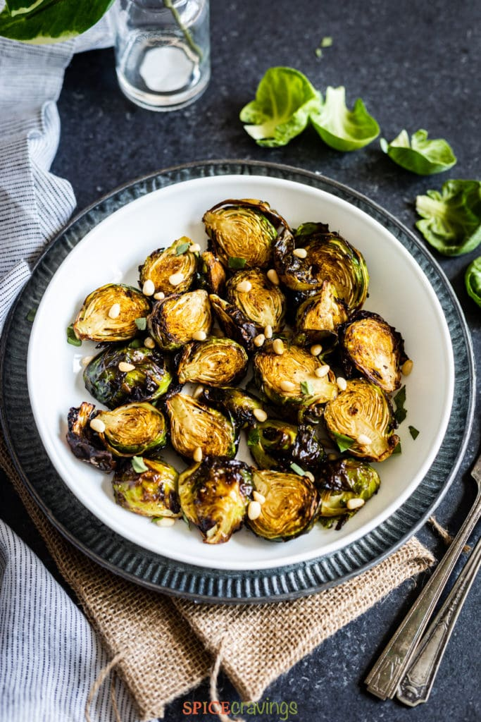 Air fryed brussel sprouts in bowl