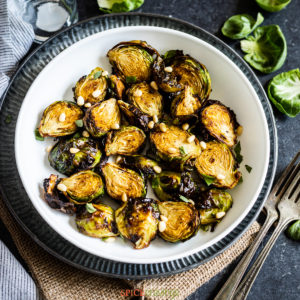 Air Fryer Balsamic Brussel Sprouts in bowl