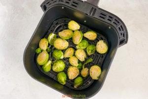 Air Fryer Brussel Sprouts in air fryer pan