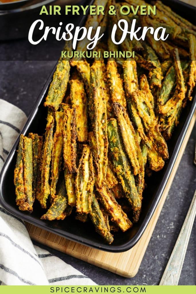 air fryer crispy okra on black serving platter