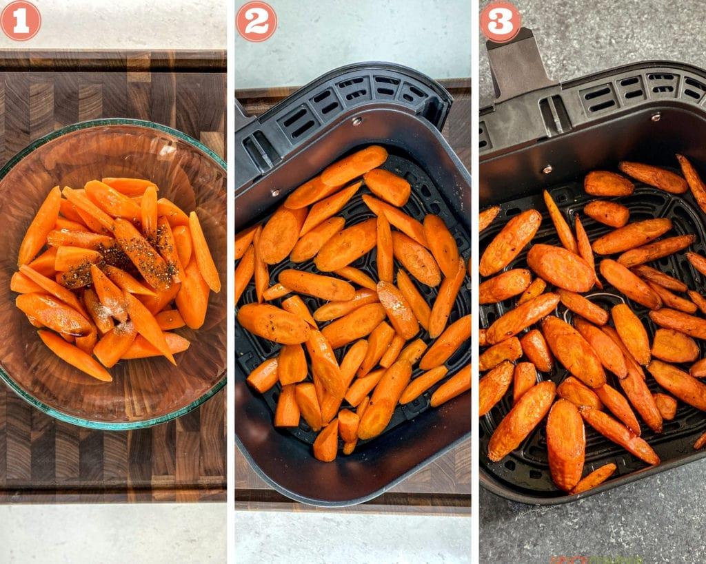 Three stages of cooking in air fryer- season, air fry, crisp