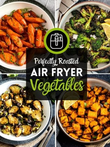 Four images of air fryer vegetables
