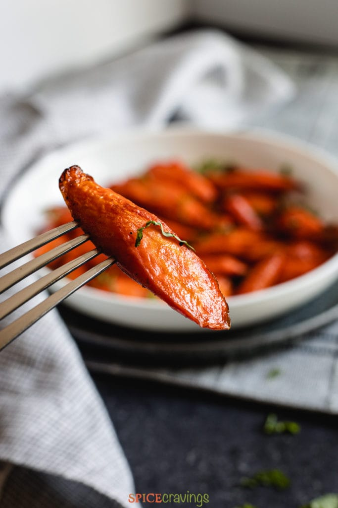 Close up image of air fryer roasted carrot
