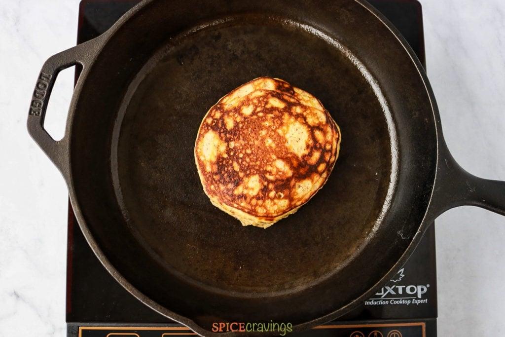Brownes pancake in a skillet