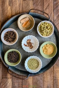 spices for masala chai powder from above