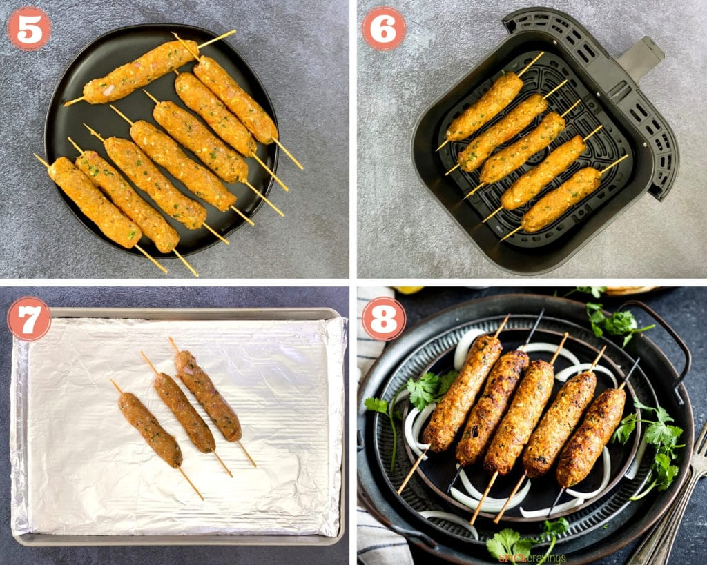 Image grid showing last four steps for making chicken seekh kebab