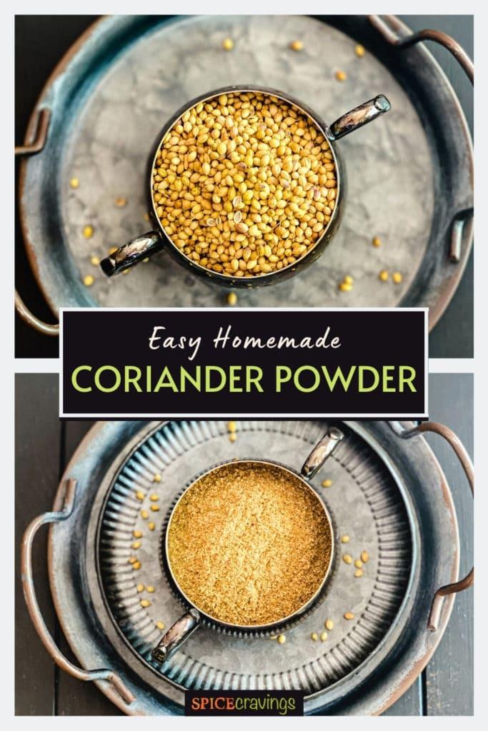 coriander seeds and ground coriander in bowls
