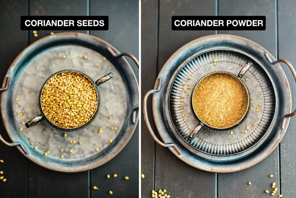 coriander seeds and coriander powder side by side