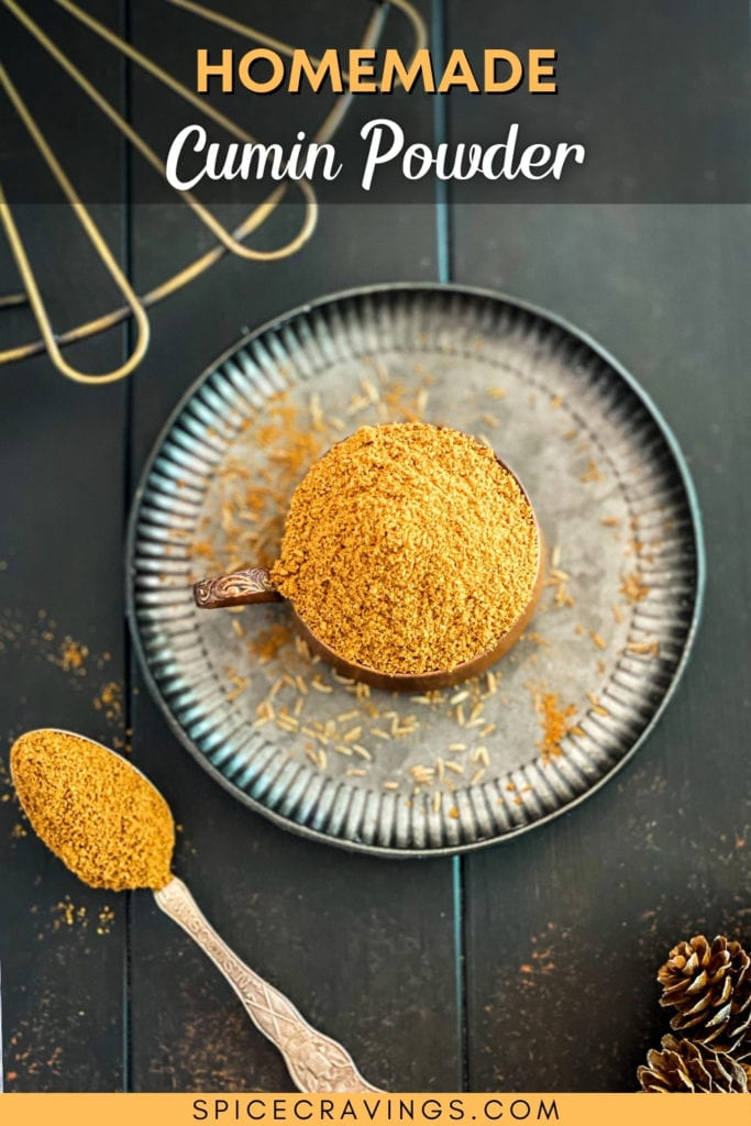 ground cumin in bowl on metal plate