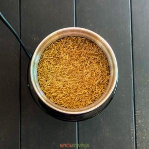 cumin seeds in spice grinder