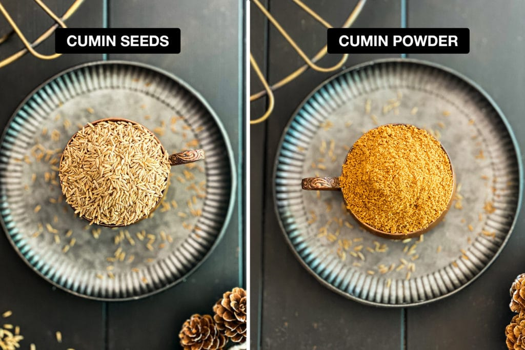 cumin seeds and cumin powder side by side