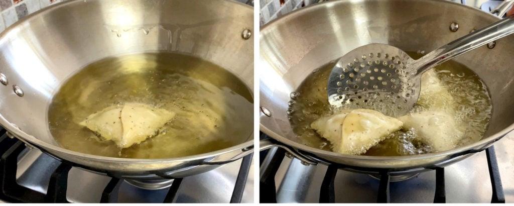 deep frying samosa in hot oil in wok