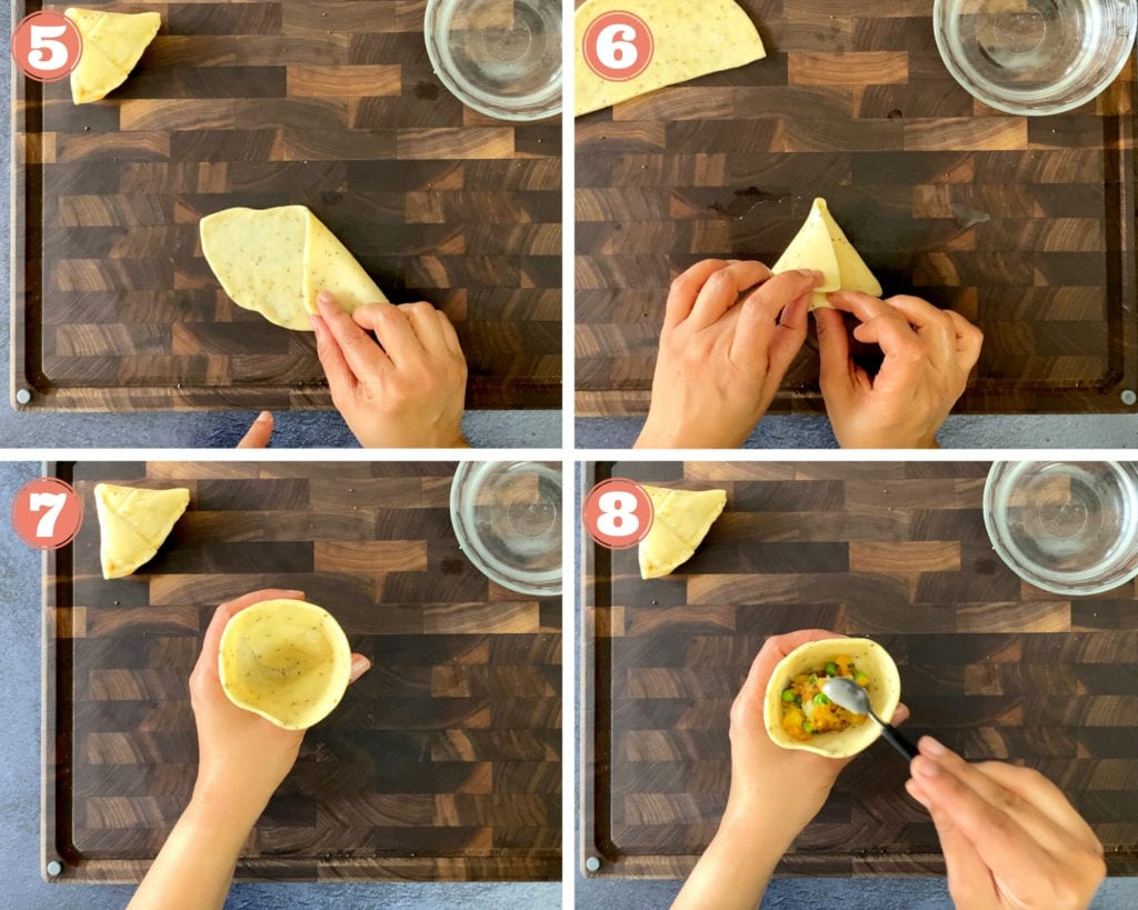 four step grid for folding and filling samosas