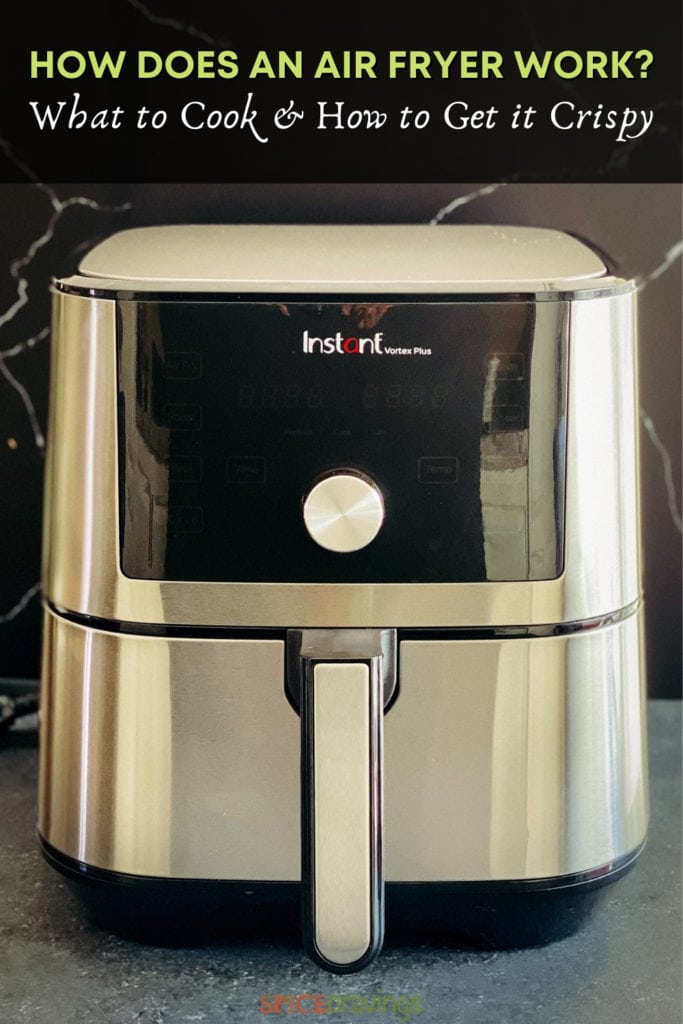 Image of stainless steel air fryer with banner- how does an air fryer work