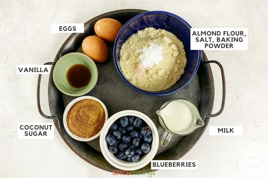 ingredients shot for blueberry muffins