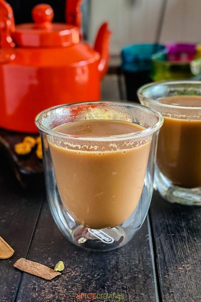 Masala chai close up