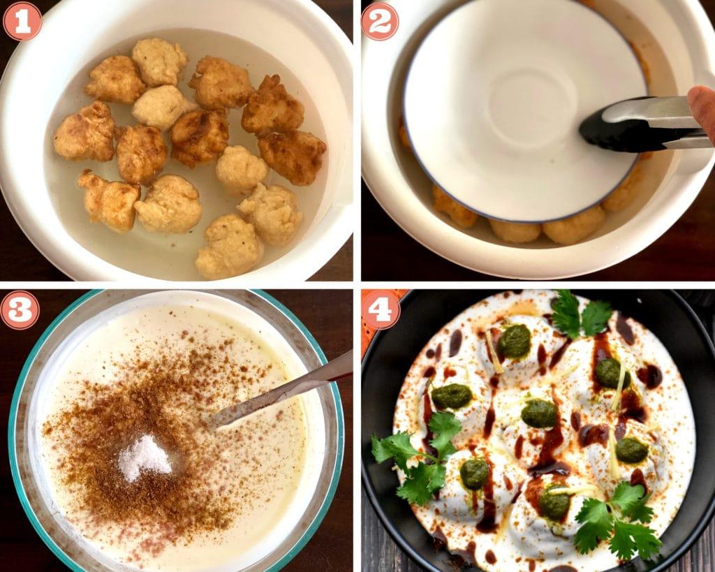Four photo grid showing soaking vadas, yogurt bowl with spices, garnished dahi vada in bowl