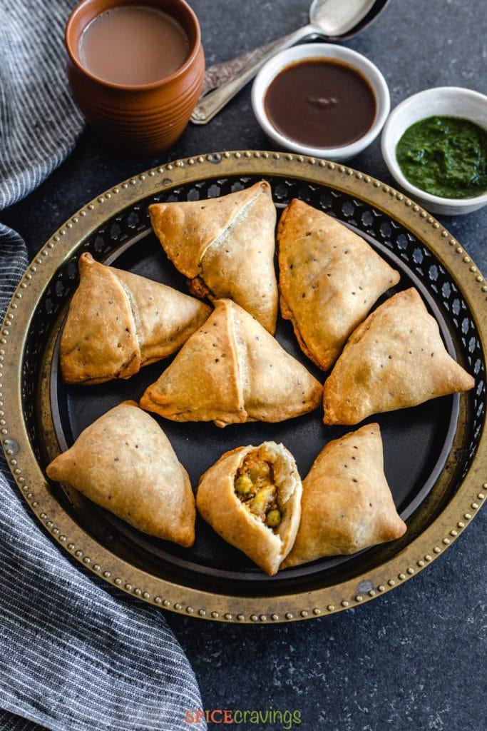 easy samosas on serving platter