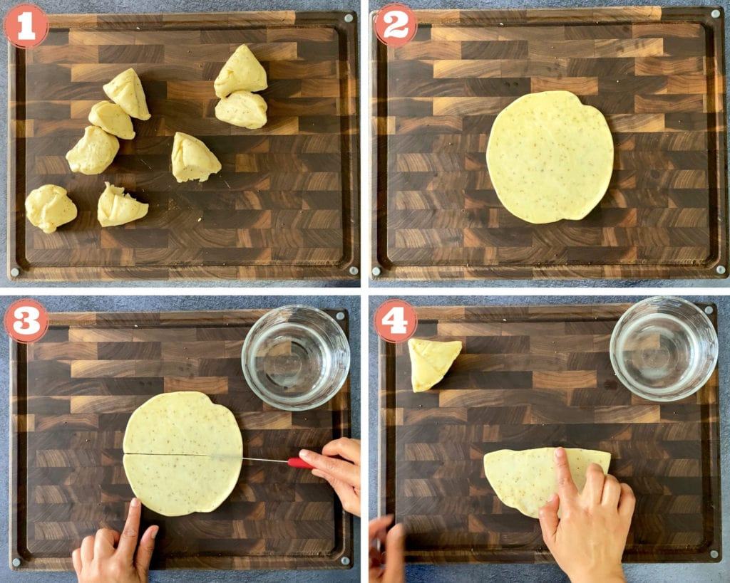 four step grid for folding samosas