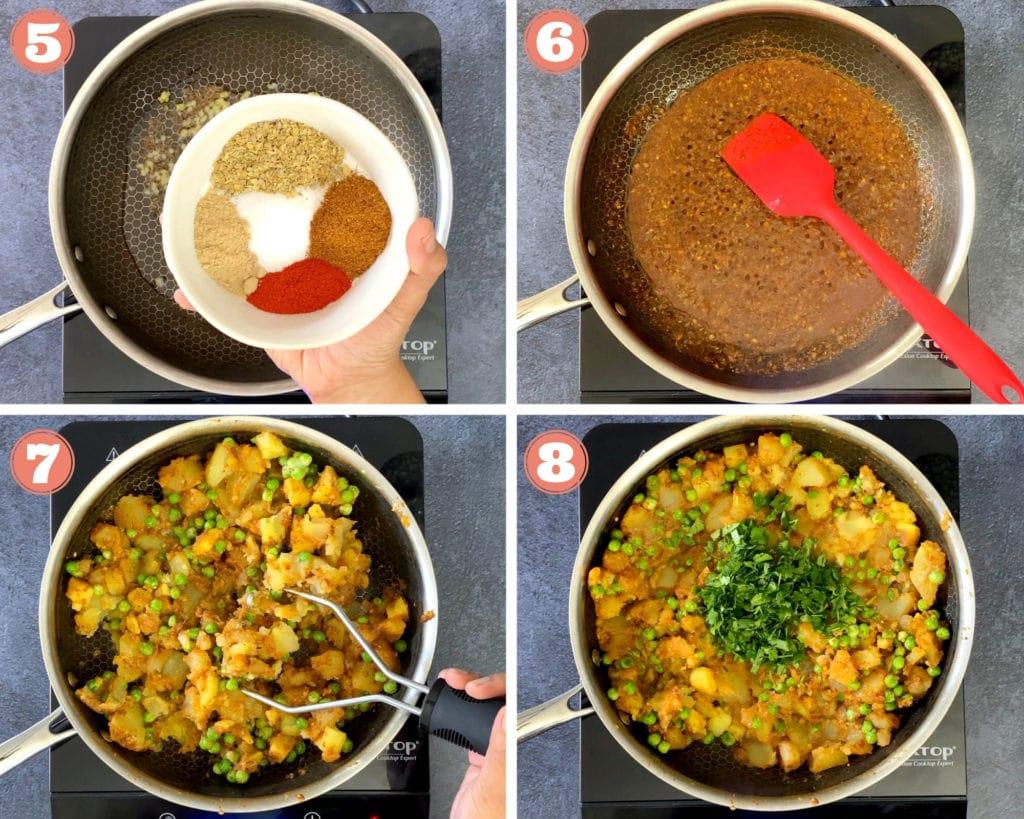 four step grid for samosa filling