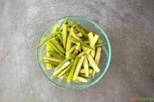 sliced okra in glass bowl