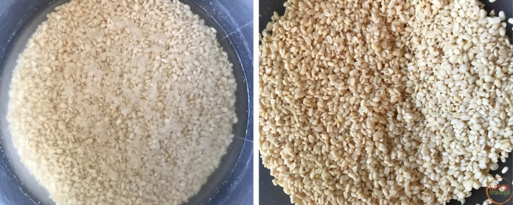 Left shot shows lentils soaking in water, right shows drained lentils