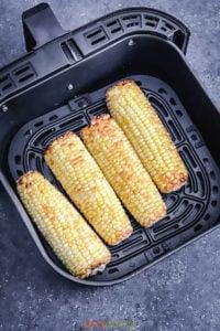 4 ears of corn in the air fryer basket
