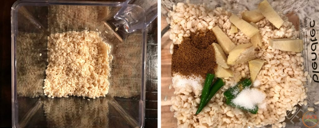Left shot shows lentils in blender, right shot shows topped with gingrer, chili, spices