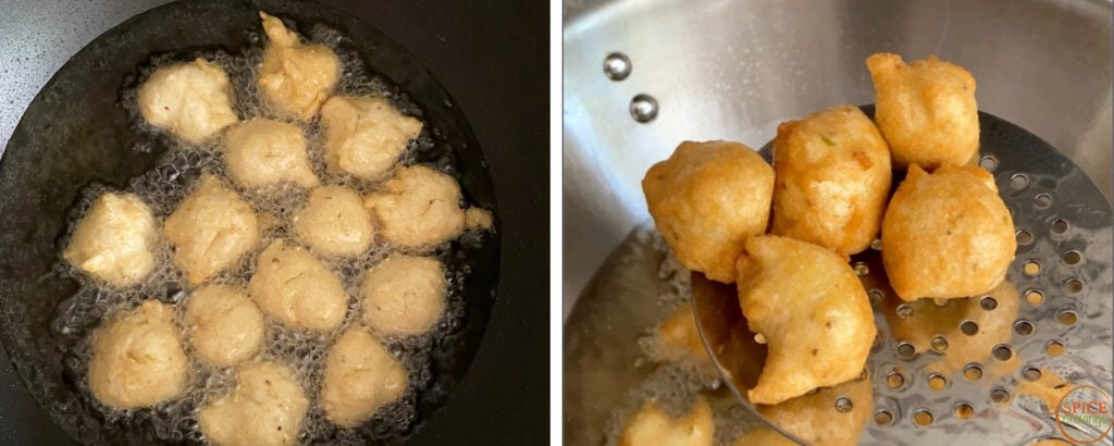 Left shot showing frying vadas in oil, right shot shows ladle scooping out fried vadas