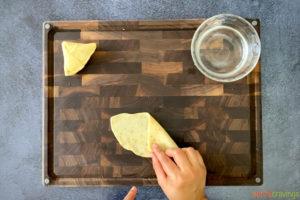 folding samosa dough