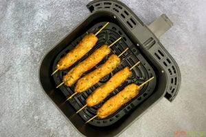 Ground meat skewers in air fryer basket