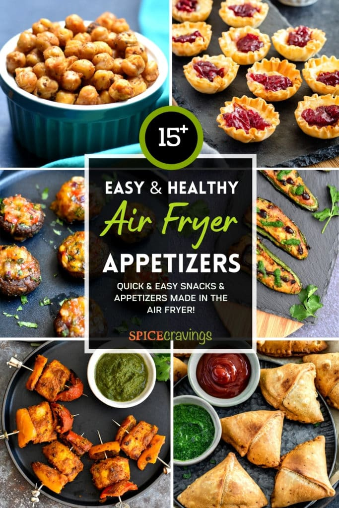 6-image grid of appetizers made in the air fryer