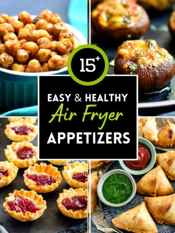 4 images of appetizers made in the air fryer