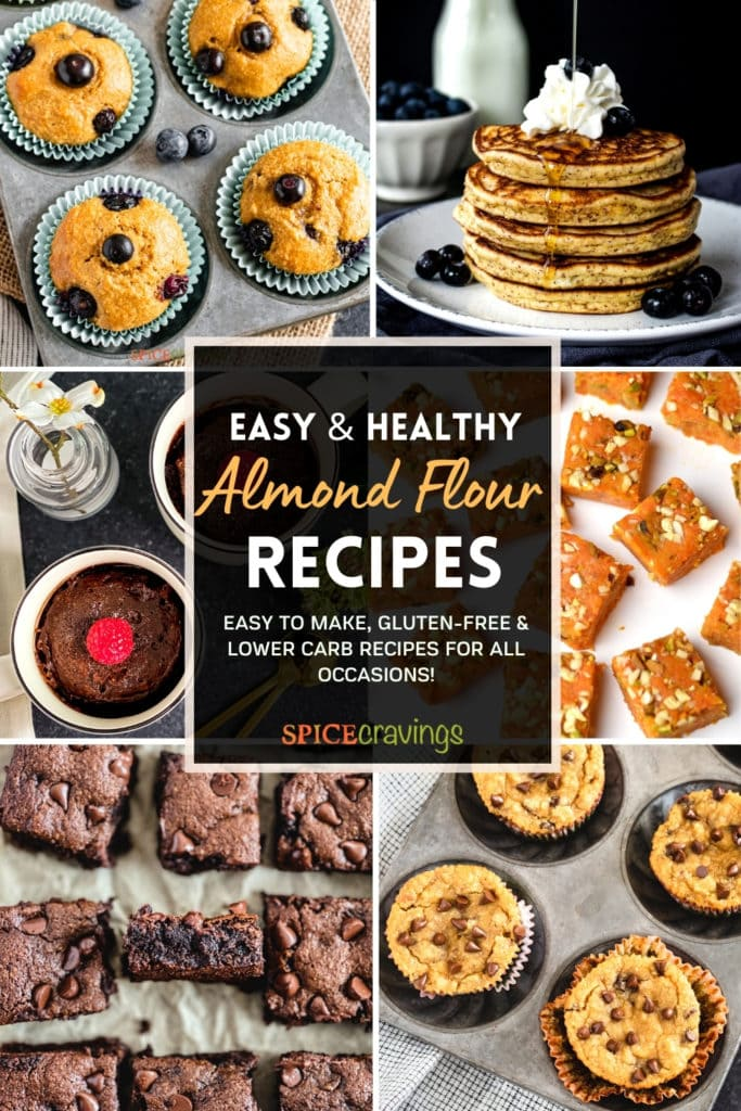 6 image grid showing muffins, pancakes, brownies made with almond flour