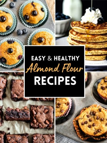 4-image grid showing muffins, pancakes, brownies made with almond flour