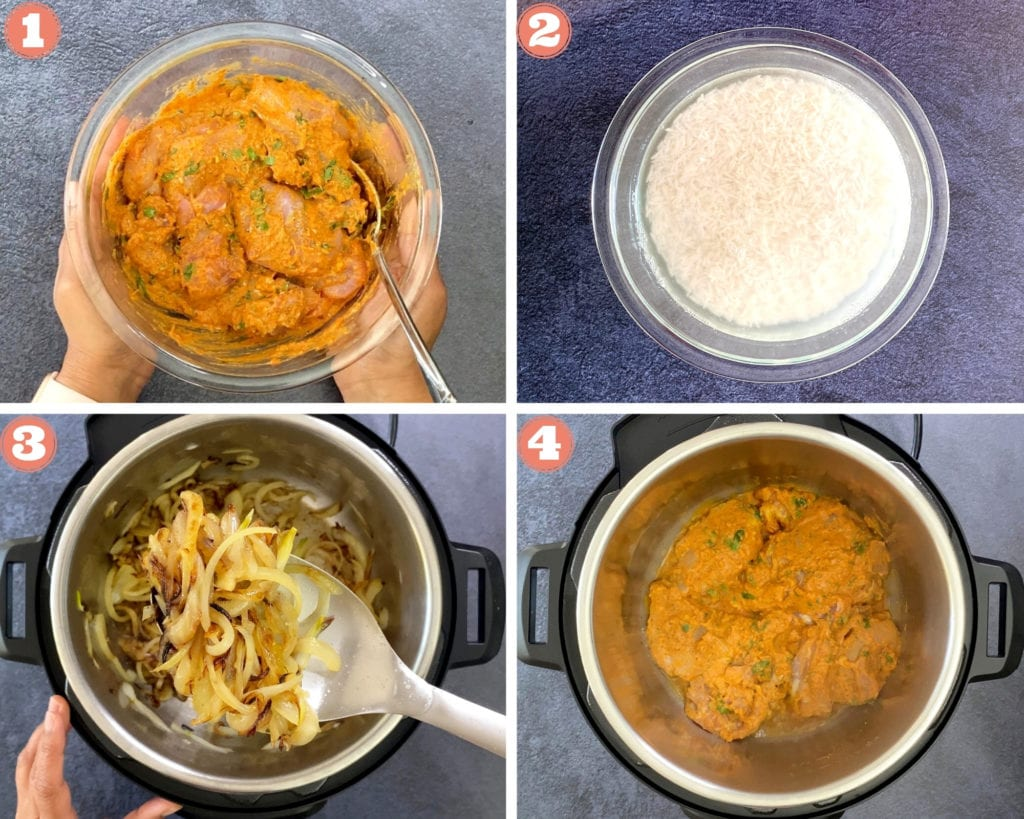 First four steps of making Biryani including marinating, soaking, caramelizing and sauteing